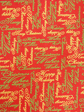 Poinsettia Glitz Christmas Phrases 100% Red Cotton Fabric By-the-Yard