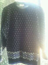 G.F.C. ltd. M/L black with blue geometric print sweater