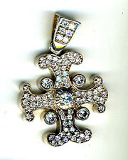 925 Sterling Silver Cubic Zirconia Large Cross Pendant Heavy over 36 grams 62mm
