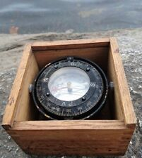 Old Vintage Swedish maritime boat compassby Silva wooden box Made in Sweden