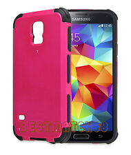 for Samsung galaxy S5 case 2 layer hot pink black shockproof hybrid i9600 G900