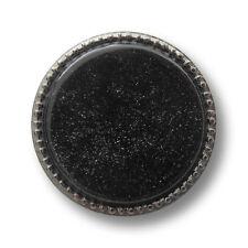 5 edle chromfb. Metall Knöpfe mit perlmutt schwarzer Glitzer Einlage (5414ts)