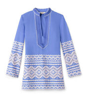 Tory Burch Tory Zita Embroidered Tunic 6 Blue Swim Classic Cruise S M