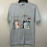Fruit of the Loom Men's Medium Gray T-Shirt Cats with Fish Graphic