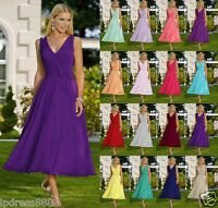 New Tea Length Formal V-neck Evening Ball Gown Party Prom Bridesmaid Dress 6-18