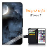 For Apple iPhone 7 Wallet Flip Phone Case Cover Cementary Wolf Y00762
