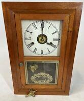 "Vintage 16"" SETH THOMAS 30 Hour Spring Wood Mantel Wall Mechanical Wind Up Clock"