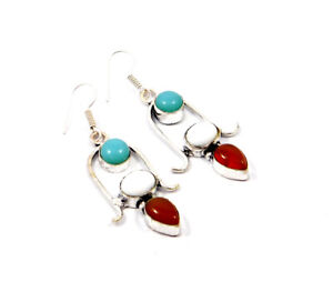 White Agate  .925 Silver Plated Handmade Earring Jewelry JC9337