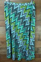 Sunny Leigh Woman Skirt Stretchy Maxi Blue Green Elastic Waist Size 1X