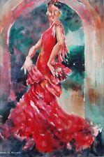"BELLISSIMO sieri CAVALIERE ORIGINALE ""RED FLAMENCO"" DANCE MUSICA Spagna pittura"