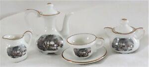 Miniature Porcelain Doll Tea Set