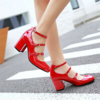 Fashion Womens Solid Patent Leather Round Toe Block Mid Heel Buckle Ankle Shoes