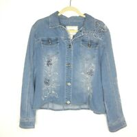 Chico's Size 2 Large Light Jean Jacket Floral Design Thirty Unforgettable Years