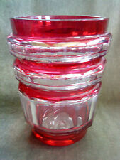 12 faceted Val St. Lambert Belgium crystal vase in cut to clear cranberry flash