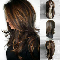 26'' Women Long Brown Gold Wavy Curly Hair Wig Synthetic Full Wig Cosplay Party