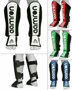 Aamron ® Gel Shin Instep Foot Pads MMA Leg Kick Boxing Guards Muay Thai Training
