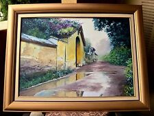 """Fernando Ixcamey 34 x 24 in Oil Painting """"El Cielo"""" Coffee Plantation Hacienda"""