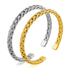 Luxury Stainless Steel Wire Braided Open Cuff Charm Wristband Bangle For Men