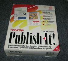 Timeworks PUBLISH IT! For Windows IBM Computer Software Vintage 1992 CIB Graphic