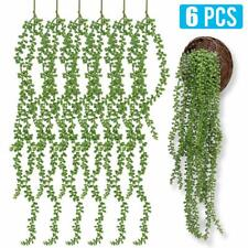 "6pcs 26"" Long Artificial Succulent String-of-pearls Bean Leaf Faux Hanging Plant"