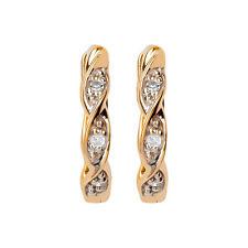 10k Yellow Gold Braided Diamond Petite Huggie Hoop Earrings