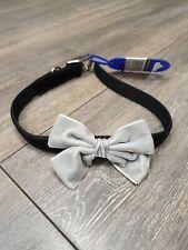 Ancol Bow Tie Dog Puppy Collar Black & Grey Velvet Buckle Fastening Size 3 40cm