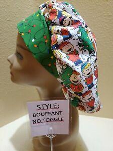 Charlie Brown Carolers Christmas Women's Bouffant Surgical Scrub Hat/Cap