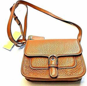 Michael Kors Small Brown Tan Pebbled Leather Shoulder Cooper Crossbody Purse Bag