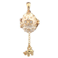 Faberge Egg Pendant / Charm with Crown & Elephant 2.1 cm white #2-1021-01