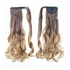 """22"""" Clip In Wrap Around Ponytail Long Hair Extension Curl Wavy Ombre Blonde 8/27"""