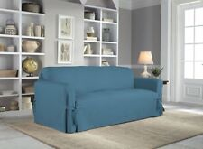 New! Serta Relaxed Fit Cotton Sofa Slipcover Blue 1-Piece