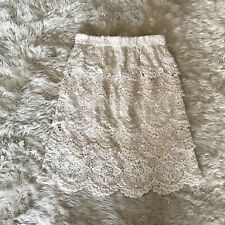 Staring at Stars Skirt XS Off White Crochet Cotton Lace Scalloped Tiered