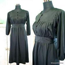Vtg black empire mod 60's 70's dress Large