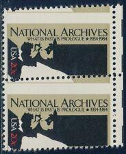 "#2081 Var. 20¢ ""National Archives"" Pair Misperf Major Error Bq8674"