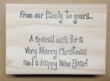 Mounted Rubber Stamp, Christmas Stamps, Family, Merry Christmas & Happy New Year