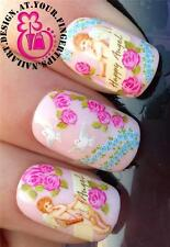 NAIL ART WRAPS Water Trasferimenti Adesivi decalcomanie Deco Set ANGELI COLOMBE ROSE #267