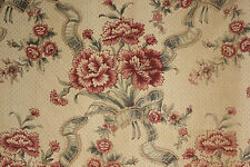 Vintage French printed linen fabric material upholstery weight floral design