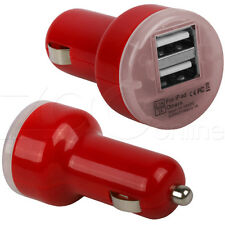 RED TWIN USB PORT IN CAR CHARGER ADAPTOR FOR SONY XPERIA E, J, M, S, SP, P, T, U