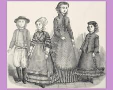 PATRON LA MODE ILLUSTREE, vêtement poupée ancienne, n° 1 de 1868, DOLL PATTERN