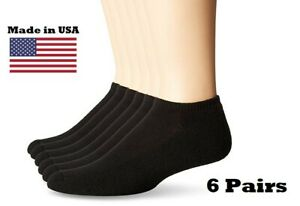 6 Pairs/Pkg Women Black Socks No Show Breathable Cushioned Size 4-10 MADE IN USA
