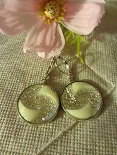 Ohrbrisuren silber Harz Cabochon kristall-weiß