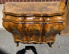 Fine Antique Italian Inlaid Olivewood Walnut Bombe Commode Dresser Chest