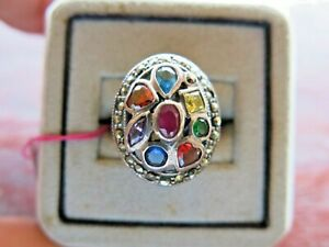 Ring Irregular Multi Stone Ruby Marcasite Silver 925 Sterling Woman Vintage  6.5