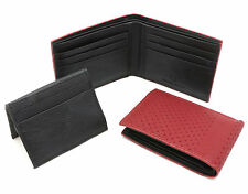 Bifold Maroon Red & Black Leather Wallet Mesh Chain-Link Design Detachable Flap