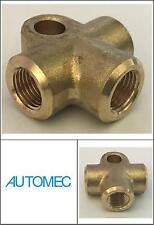 AUTOMEC Brake Pipe Brass Union Fitting 3 Way Connector Female 10mm x 1mm Pitch