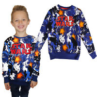 Childs Disney Star Wars All Over Cartoon Print Jumper Long Sleeve Crew Neck Top
