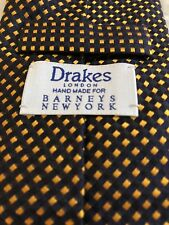 Drakes London Made Pure Silk Black & Yellow Box Tie 59 X 3 1/4 Made in England