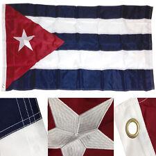 3x5 Embroidered Cuba Cuban 210D Sewn Nylon Flag 3'x5' Brass Grommets w/ Clips
