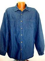 Mens Wrangler Button Front LS Fleece Lined denim Shirt Jacket Tag L