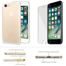 iPhone 7 Crystal Clear Ultra Slim Soft Gel TPU Case Tempered Glass Screen Guard